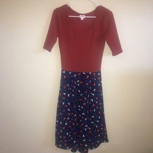 LuLaRoe Small Dress - Burnt Orange & Navy w/Design